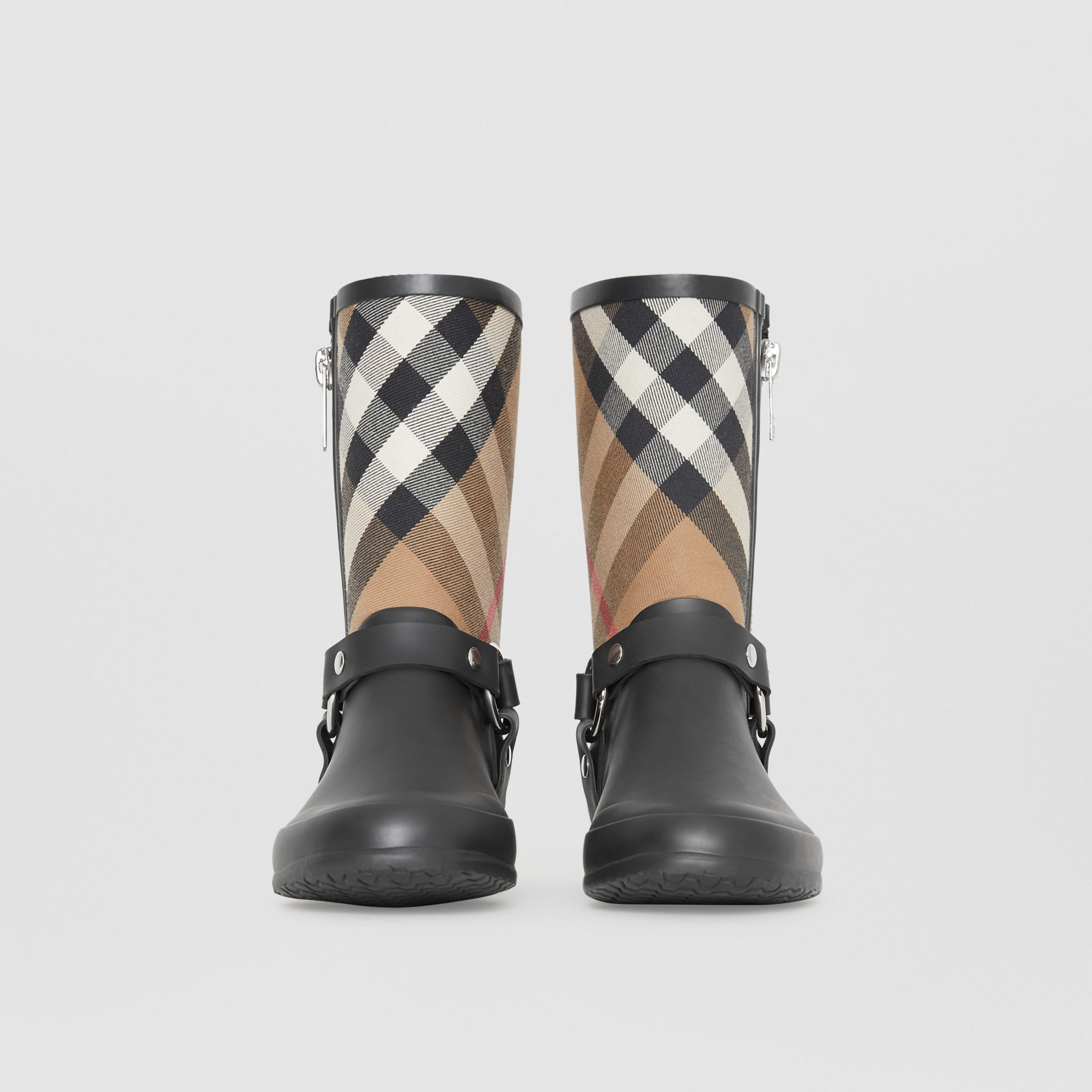 Buckle and Strap Detail Check Rain Boots in House Check/black - Women | Burberry - gallery image 3