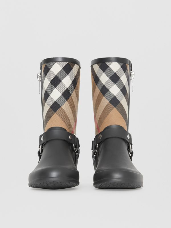Buckle and Strap Detail Check Rain Boots in House Check/black - Women | Burberry Australia - cell image 3