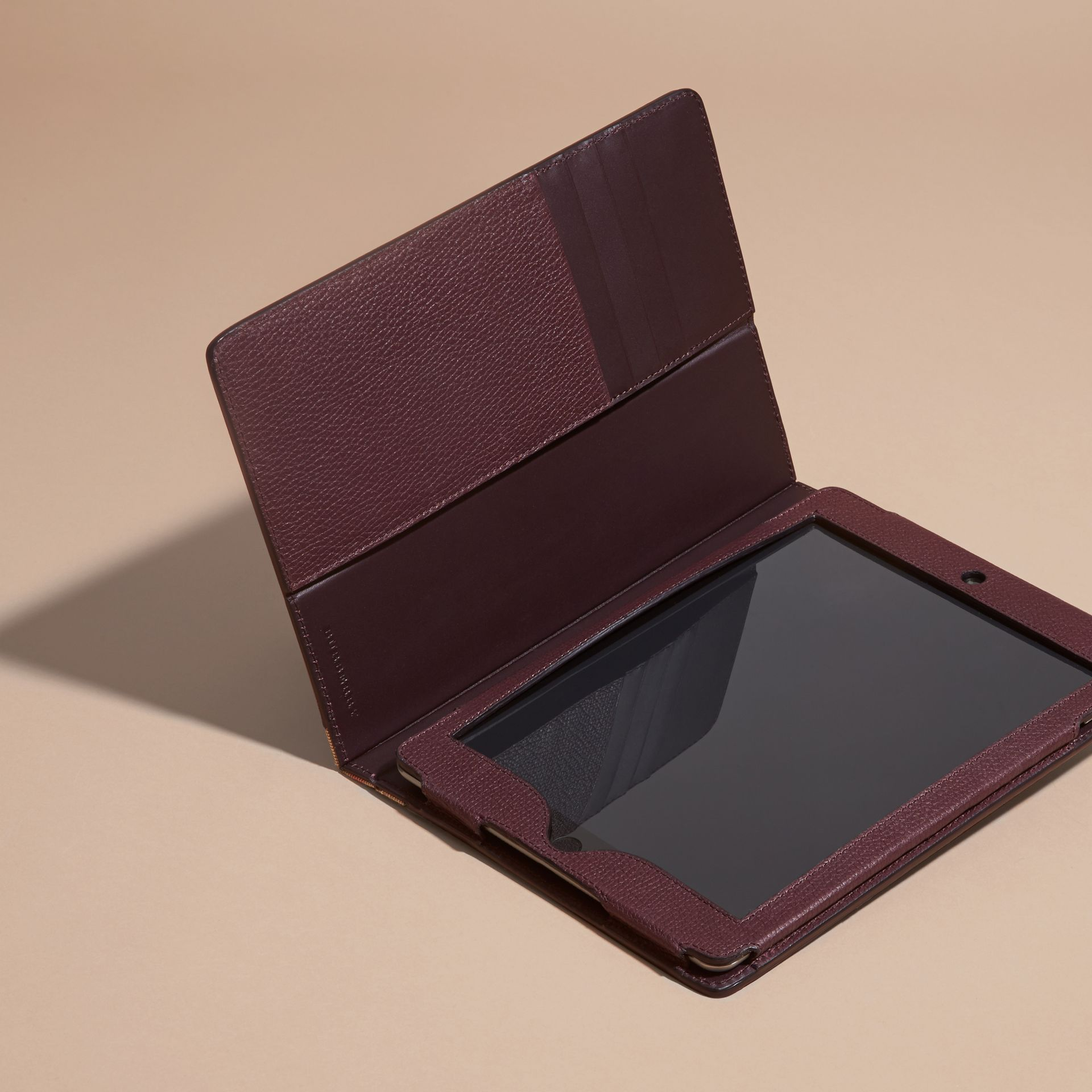 Grainy Leather and House Check iPad Case Wine - gallery image 3
