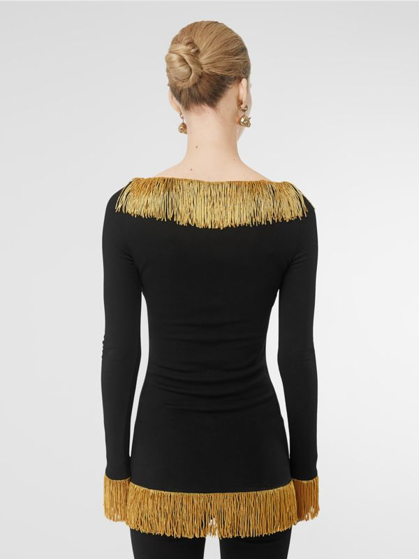 Metallic Fringe Detail Stretch Jersey Corset Top in Black - Women | Burberry Singapore - cell image 2