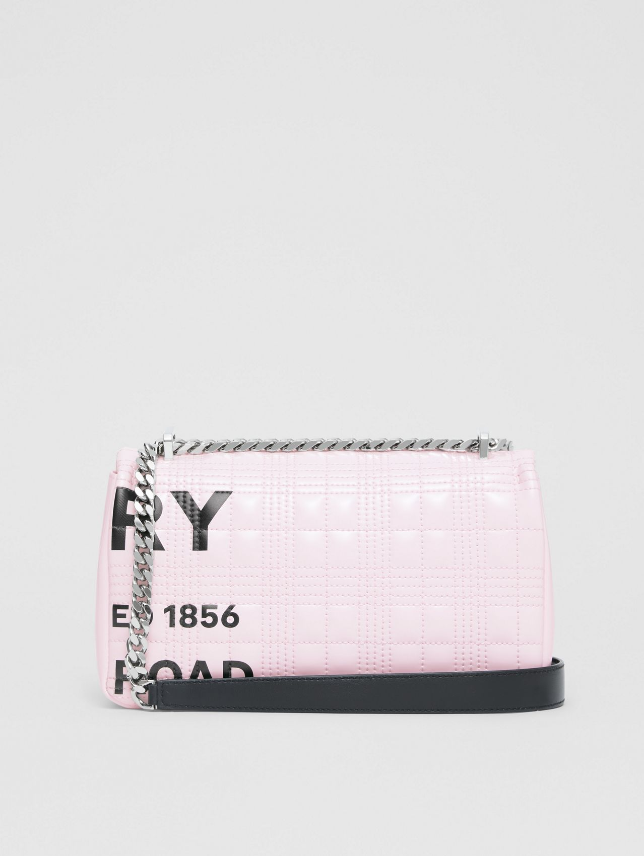 Small Horseferry Print Quilted Lola Bag in Pastel Pink