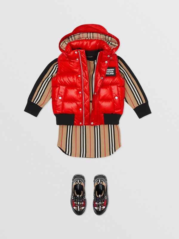 Detachable Hood Nylon Puffer Gilet in Pillar Box Red | Burberry Singapore - cell image 2
