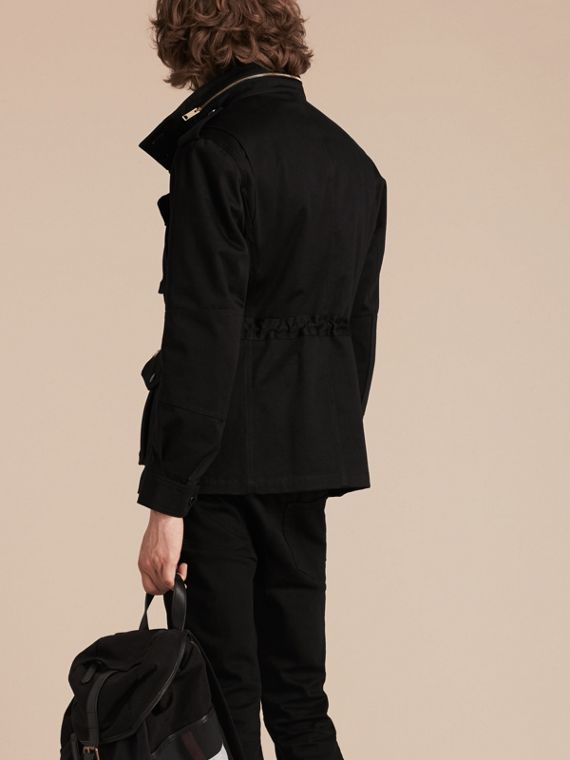 Black Bonded Cotton Field Jacket with Removable Warmer - cell image 2