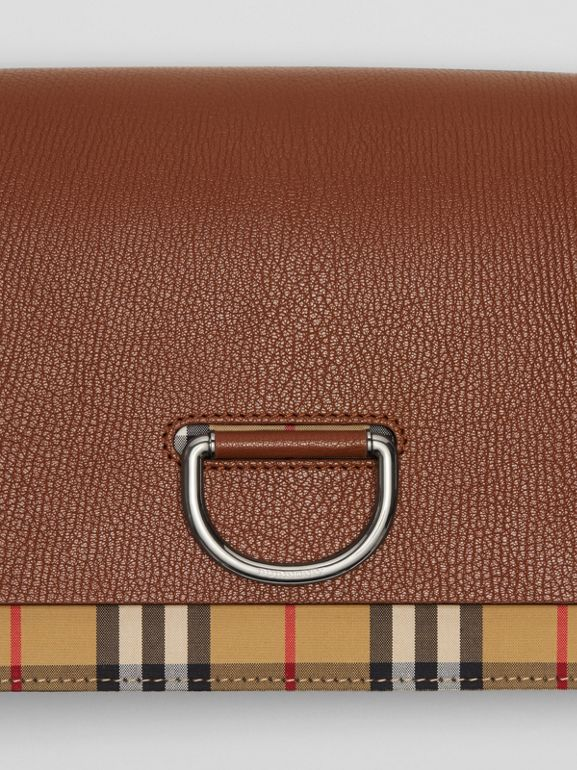 The Medium Vintage Check and Leather D-ring Bag in Tan/black - Women | Burberry United States - cell image 1
