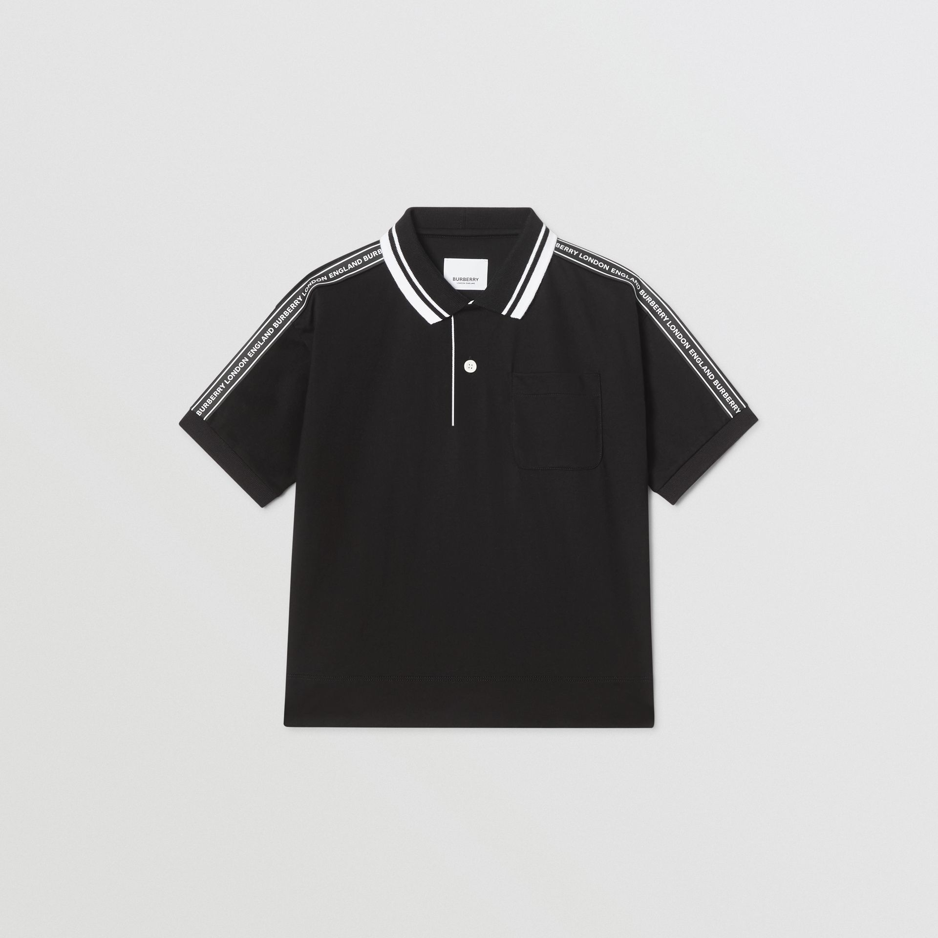 Logo Tape Cotton Polo Shirt in Black | Burberry - gallery image 0