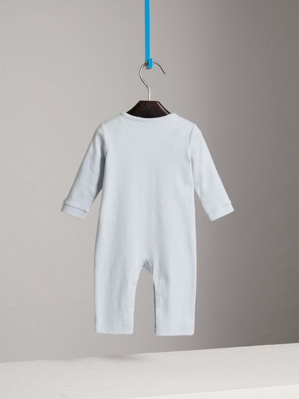 Check Trim Cotton Jumpsuit in Ice Blue - Children | Burberry United Kingdom - cell image 3