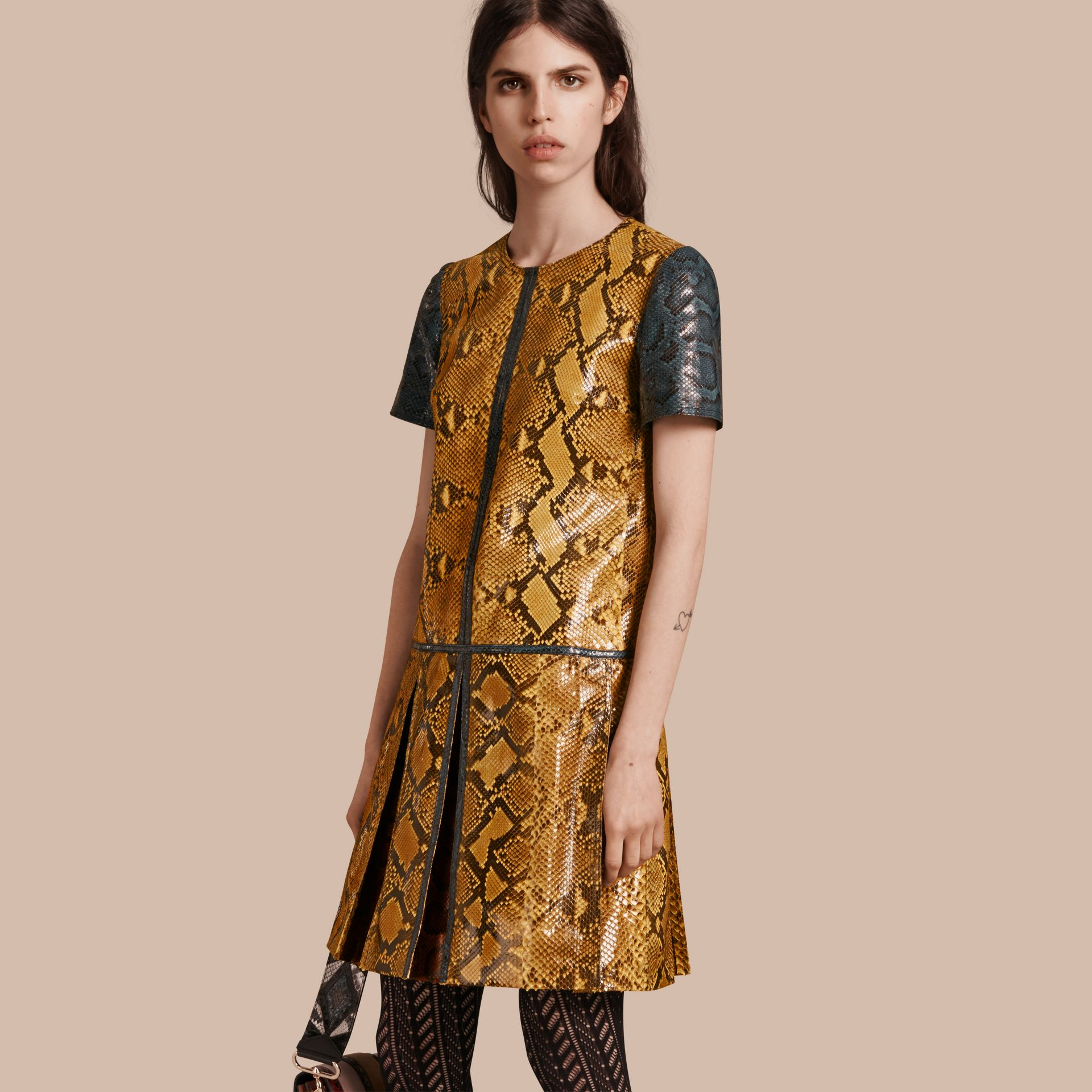 Amber yellow Patchwork Python T-shirt Dress - gallery image 1