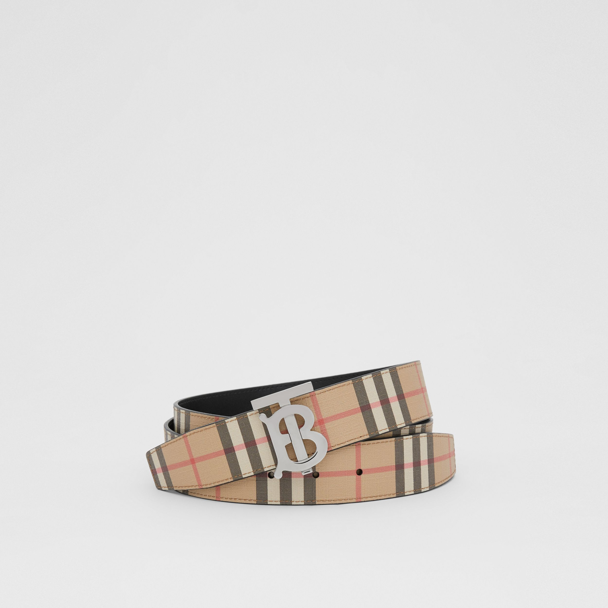 Reversible Monogram Motif Vintage Check Belt in Archive Beige - Men | Burberry - 1