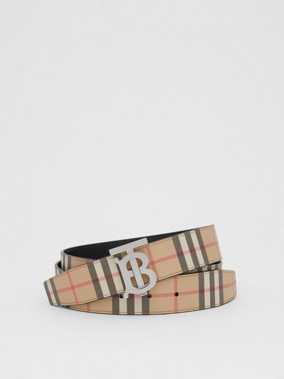 Reversible Monogram Motif Vintage Check Belt in Archive Beige