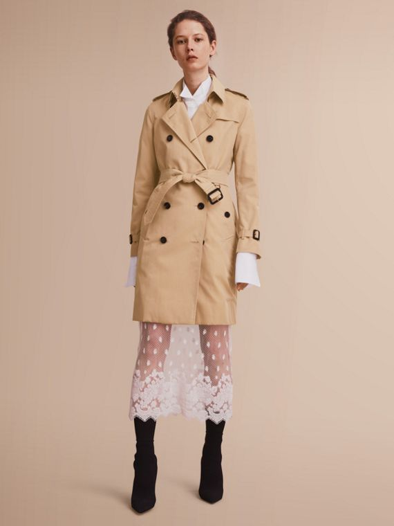 Trench coat Kensington – Trench coat Heritage largo (Miel) - Mujer | Burberry