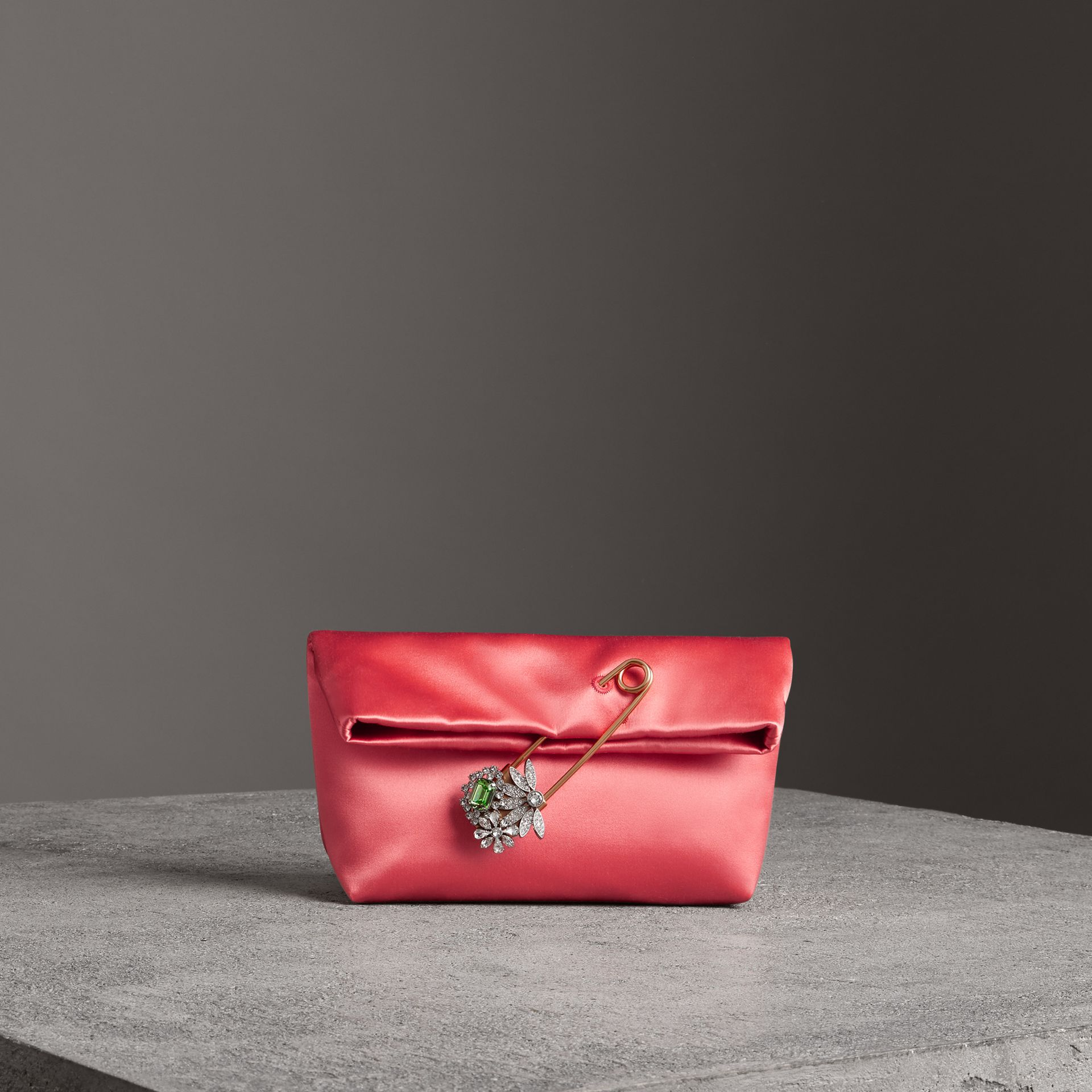 The Small Pin Clutch in Satin in Pale Cinnamon - Women | Burberry - gallery image 0