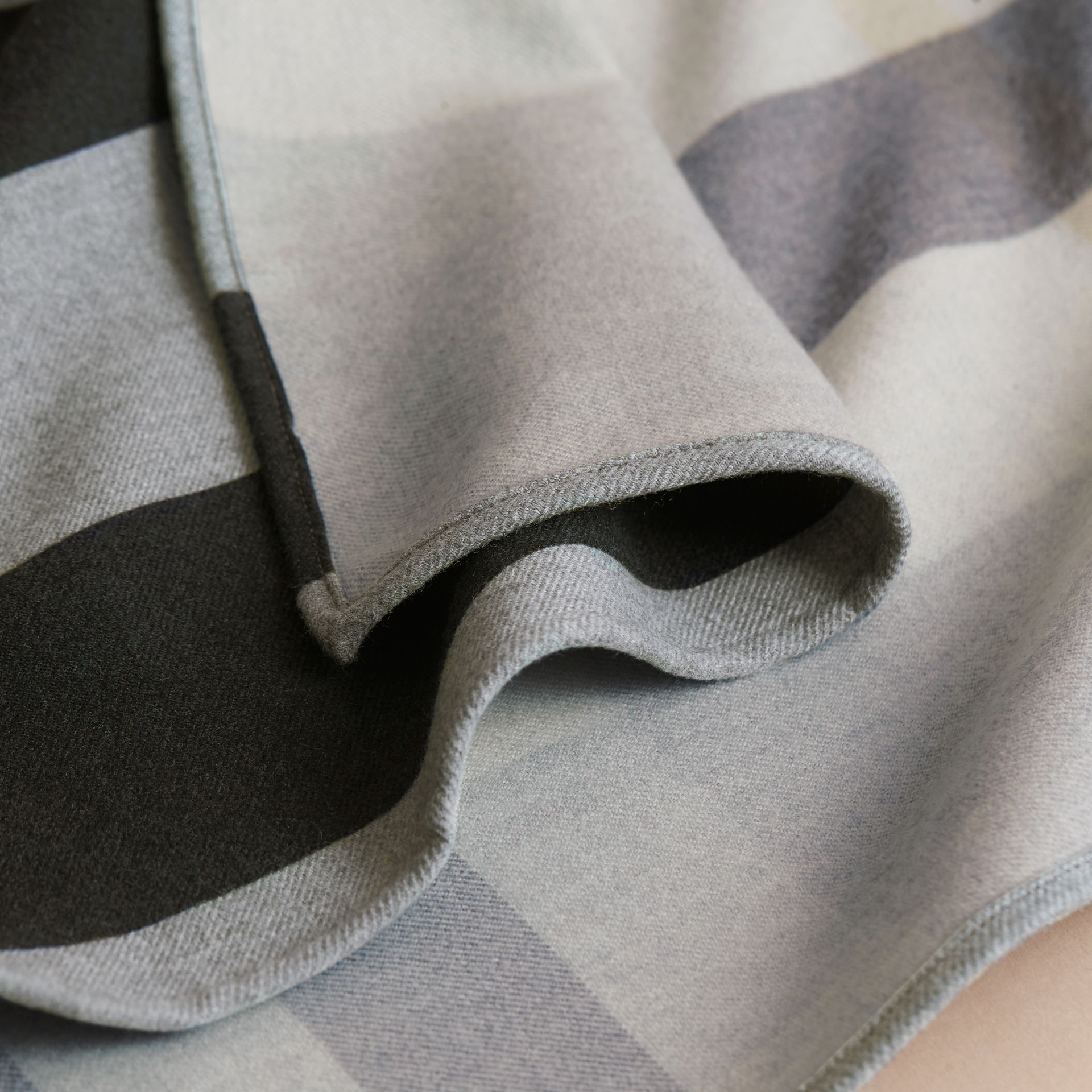 Reversible Stripe and Check Merino Wool Poncho in Grey - Women | Burberry Canada - gallery image 2