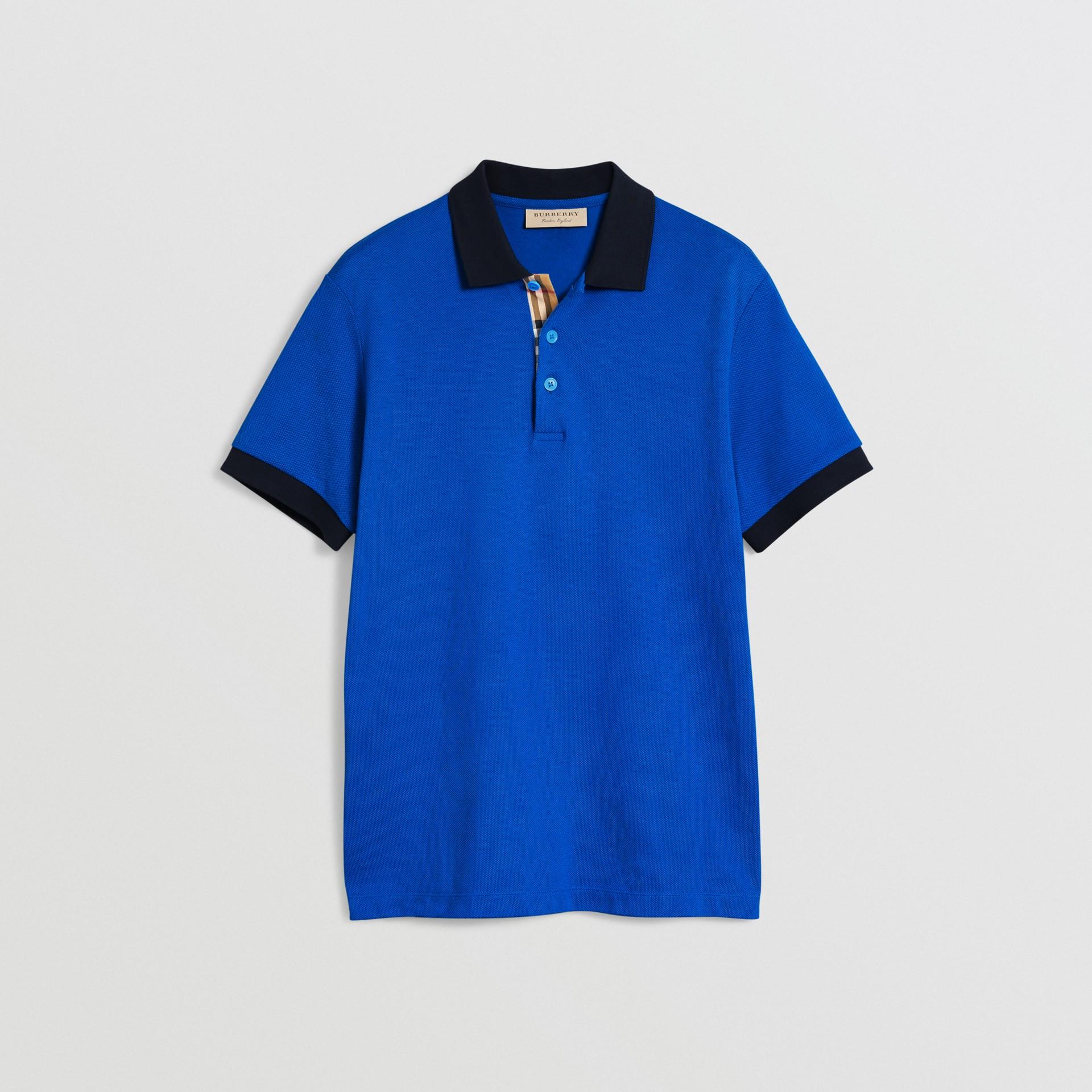 Polo en coton avec col contrastant (Bleu Azur) - Homme | Burberry Canada - photo de la galerie 3
