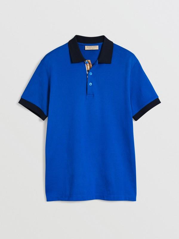 Polo en coton avec col contrastant (Bleu Azur) - Homme | Burberry Canada - cell image 3