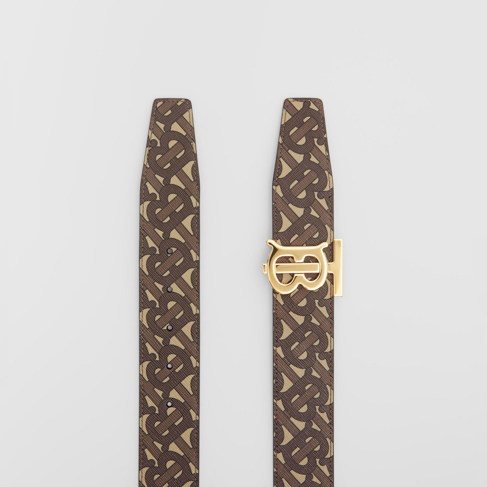 Reversible Monogram E-canvas and Leather Belt in Bridle Brown - Men | Burberry United Kingdom - gallery image 6