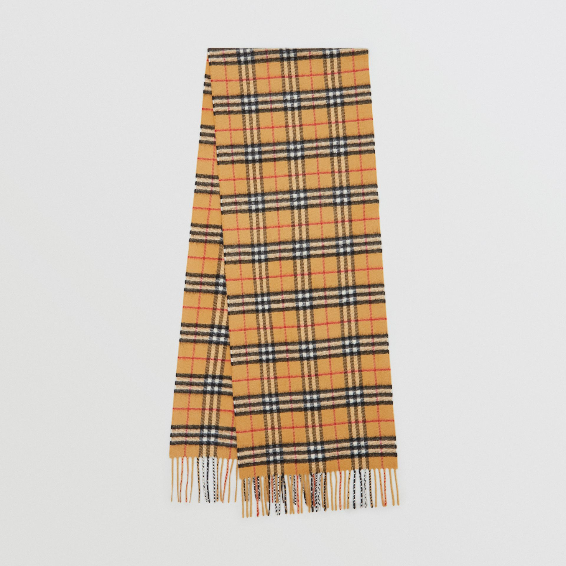 The Classic Vintage Check Cashmere Scarf in Antique Yellow | Burberry Singapore - gallery image 0