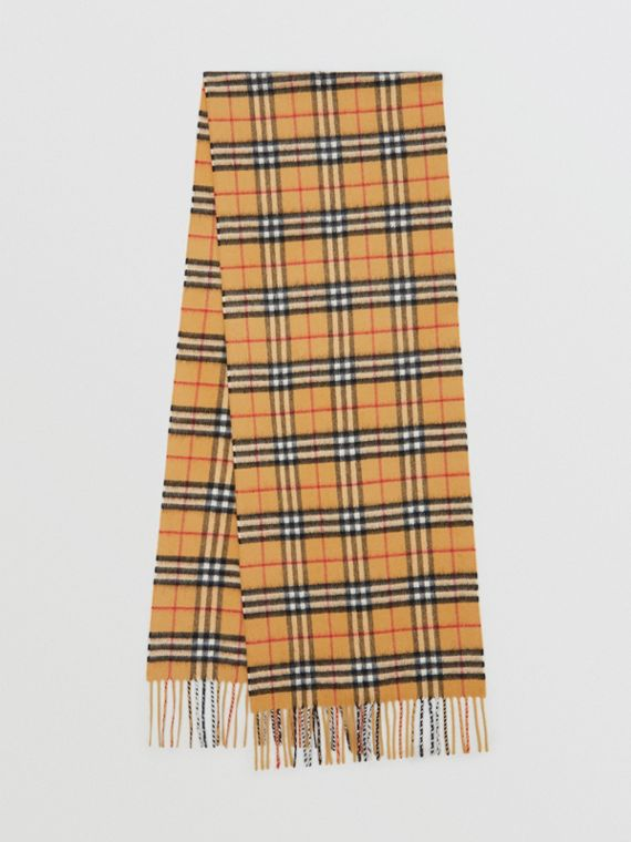 The Classic Vintage Check Cashmere Scarf in Antique Yellow