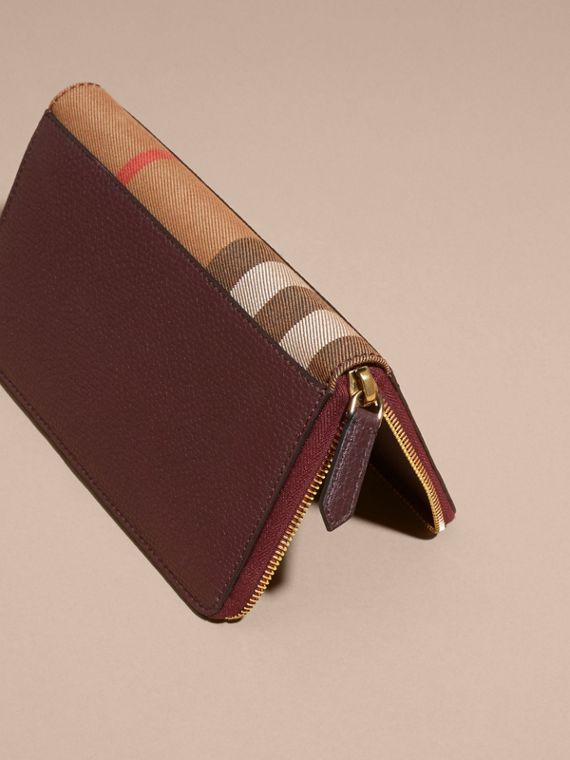 House Check and Grainy Leather Ziparound Wallet in Wine - cell image 2