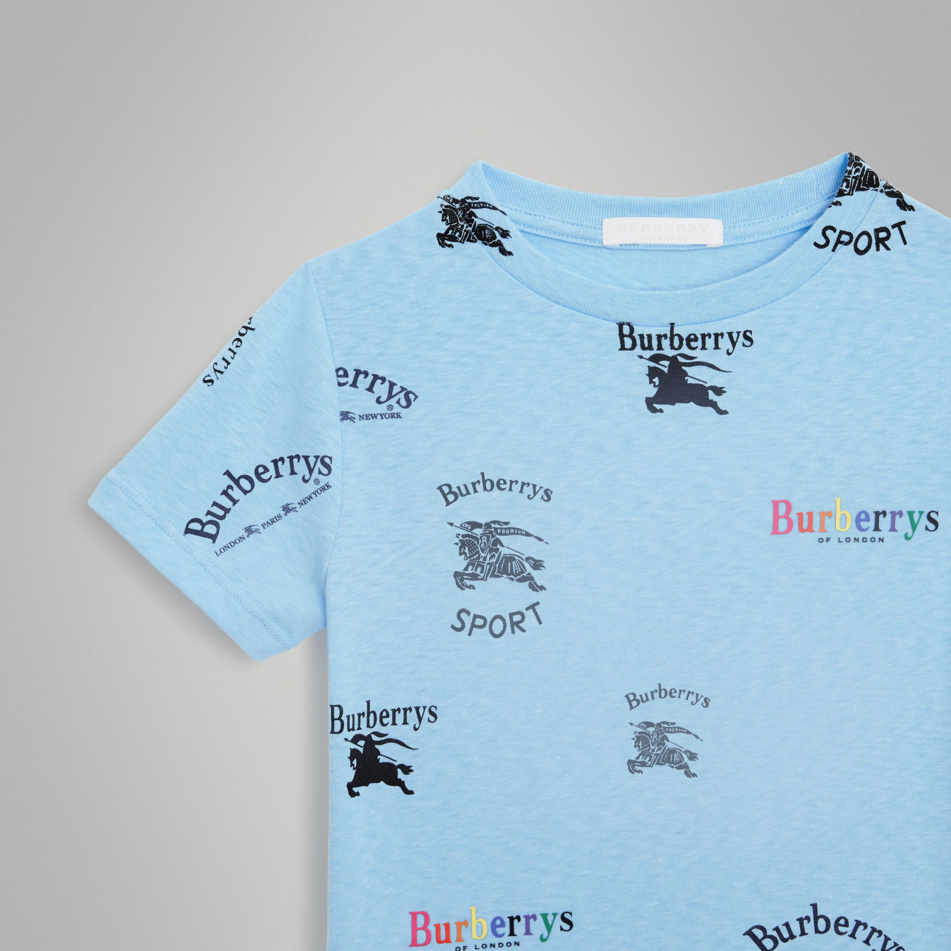Archive Logo Print Jersey T-shirt in Sky Blue - Boy | Burberry - gallery image 4