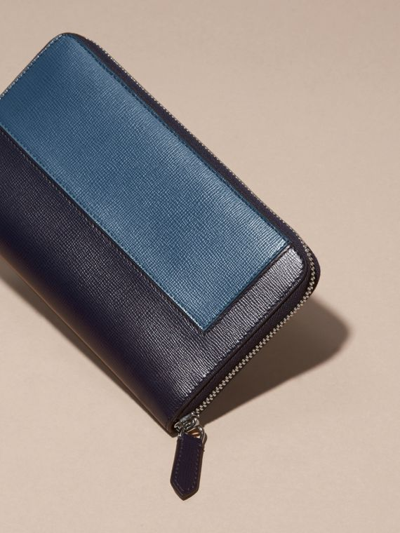 Dark navy Panelled London Leather Ziparound Wallet Dark Navy - cell image 3
