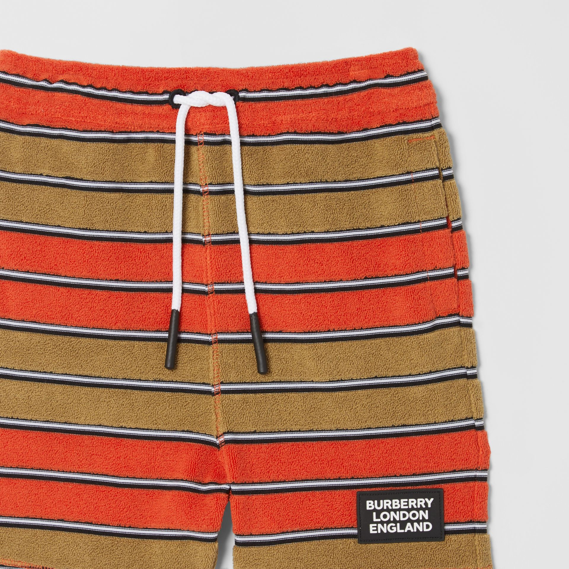 Logo Appliqué Striped Towelling Shorts in Vermilion Red - Children | Burberry Hong Kong S.A.R - gallery image 4