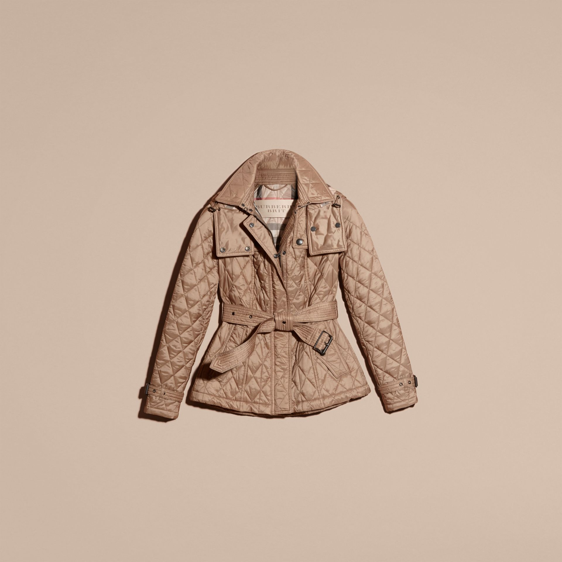 Quilted Trench Jacket with Detachable Hood Pale Fawn - gallery image 4