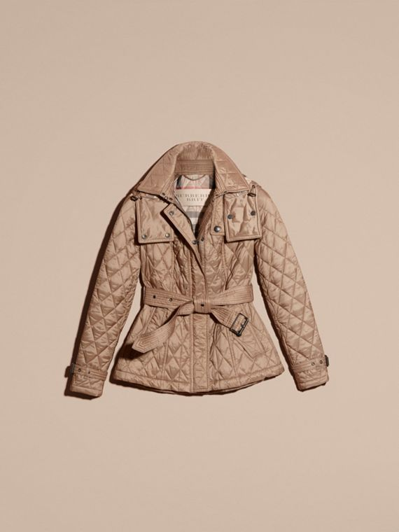 Quilted Trench Jacket with Detachable Hood in Pale Fawn - Women | Burberry Canada - cell image 3