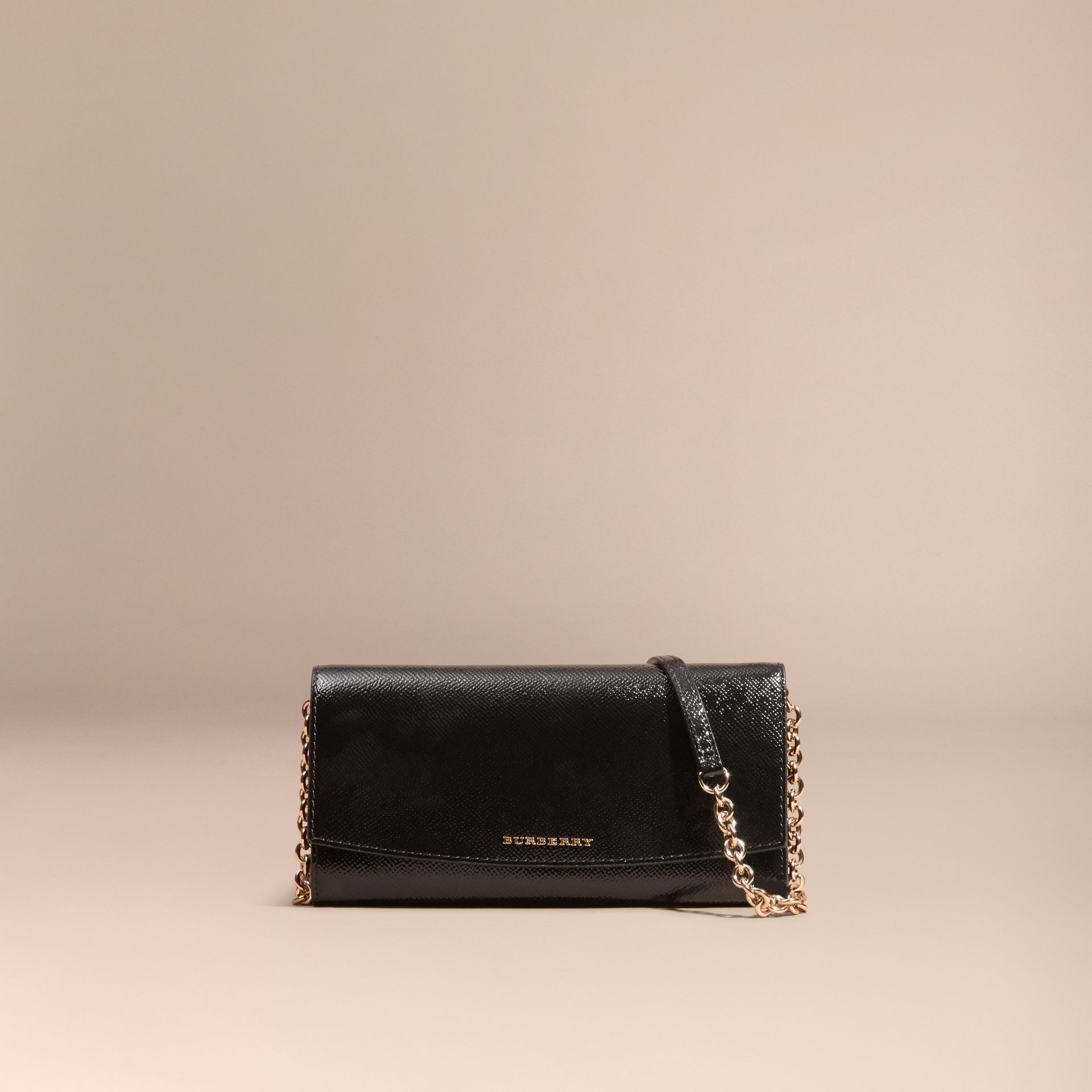 Black Leather Wallet with Chain Black - gallery image 9
