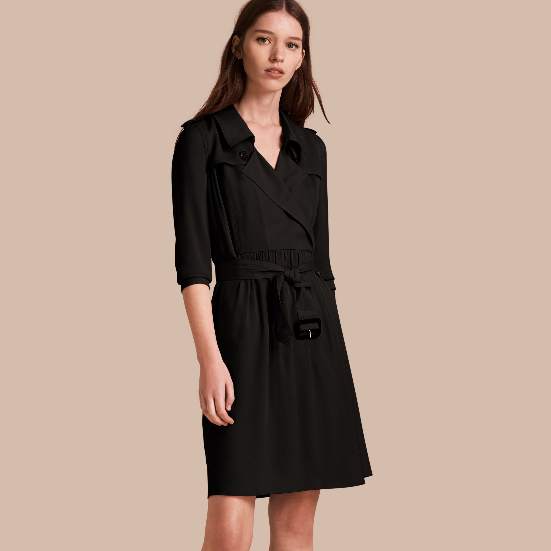 Silk Trench Dress in Black - Women | Burberry - gallery image 1