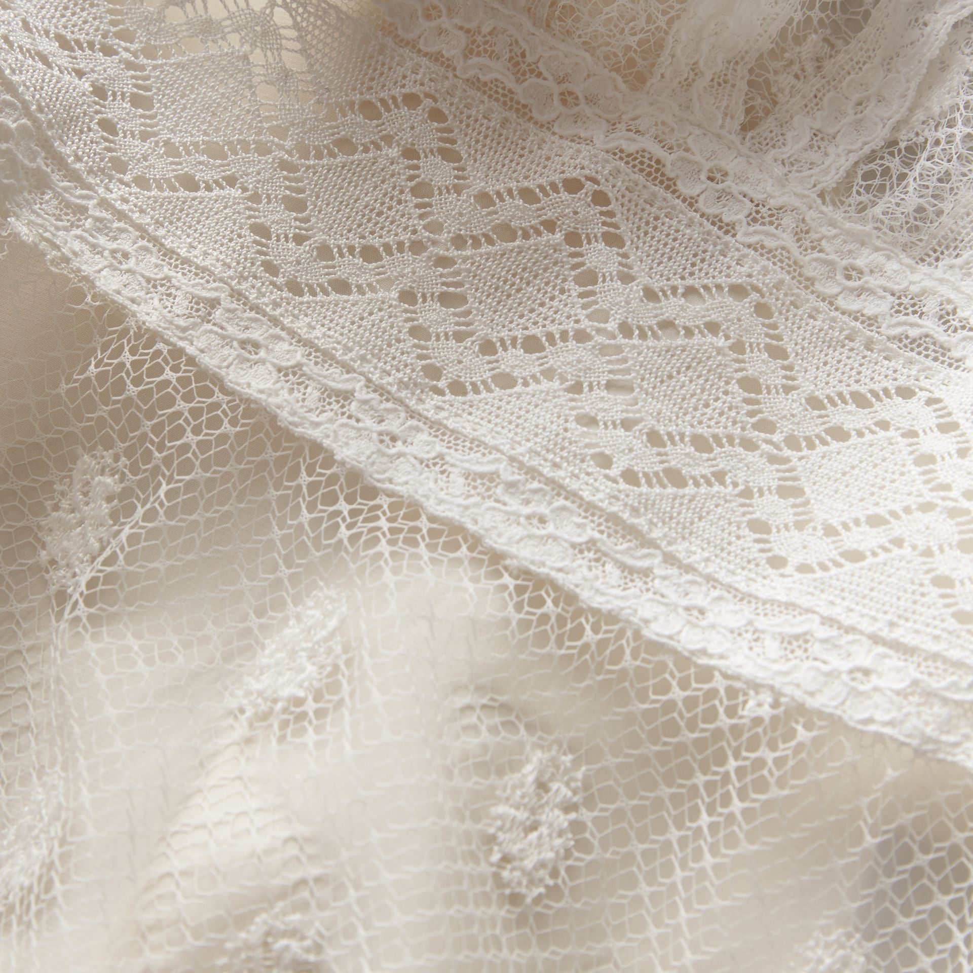 Embroidered Tulle Panel Dress in Off White - Women | Burberry - gallery image 1