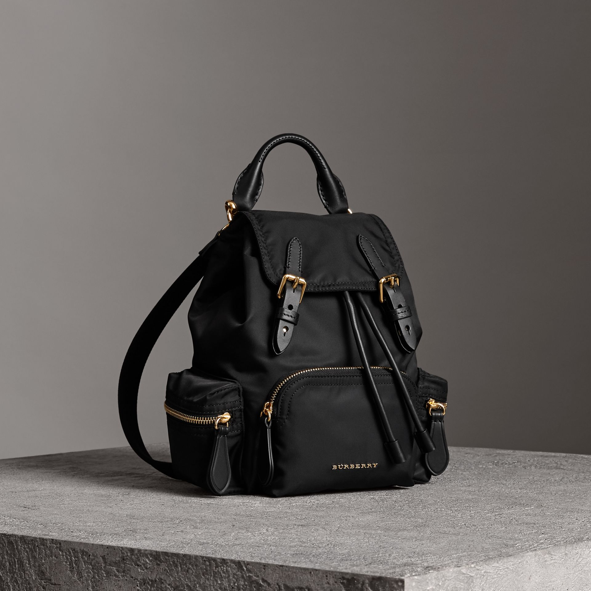 The Crossbody Rucksack in Nylon and Leather in Black - Women | Burberry - gallery image 0