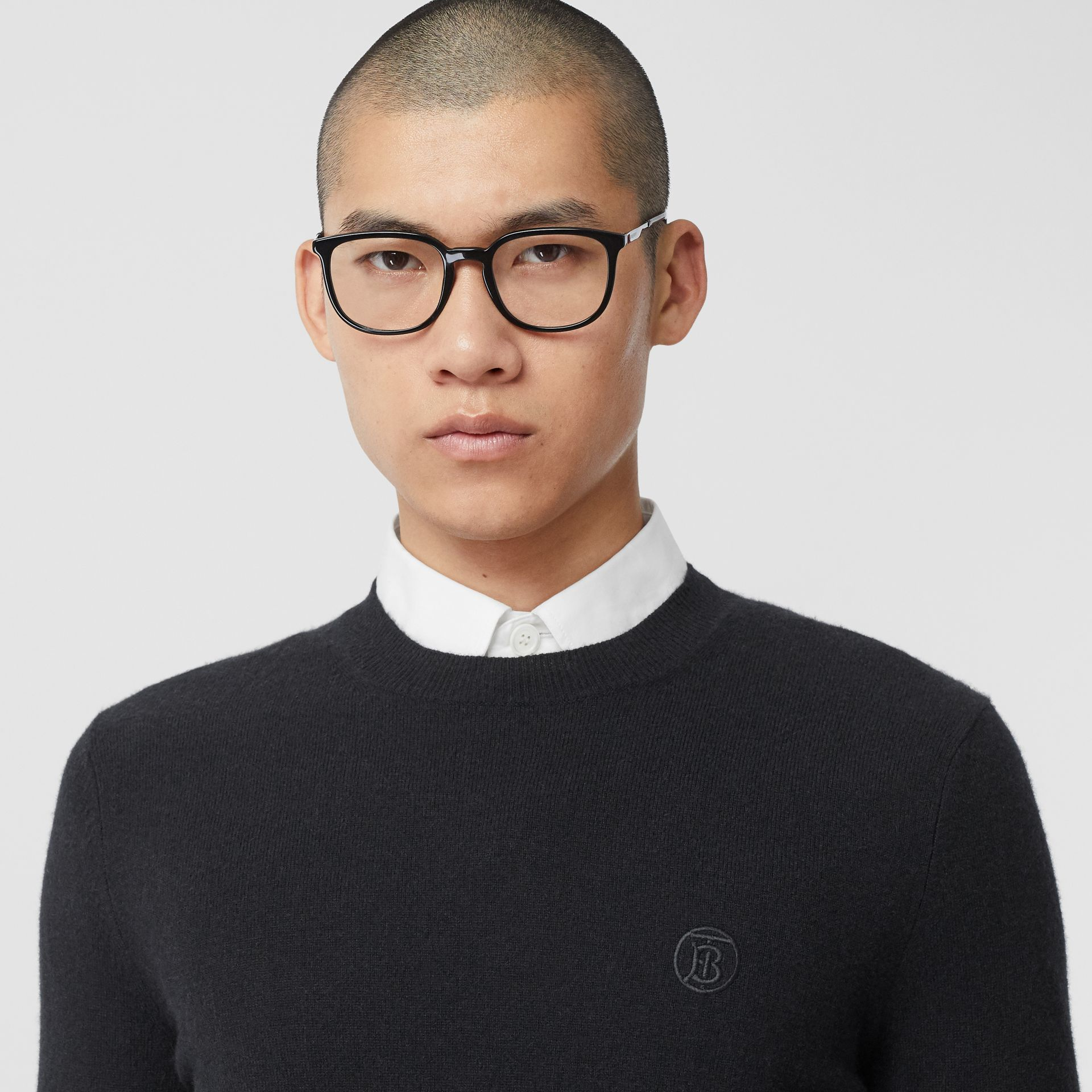 Monogram Motif Cashmere Sweater in Black - Men | Burberry Canada - gallery image 1