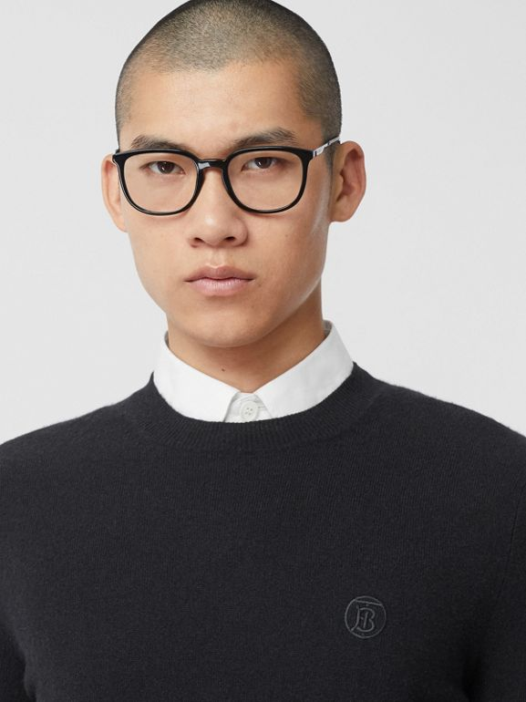 Monogram Motif Cashmere Sweater in Black - Men | Burberry Canada - cell image 1
