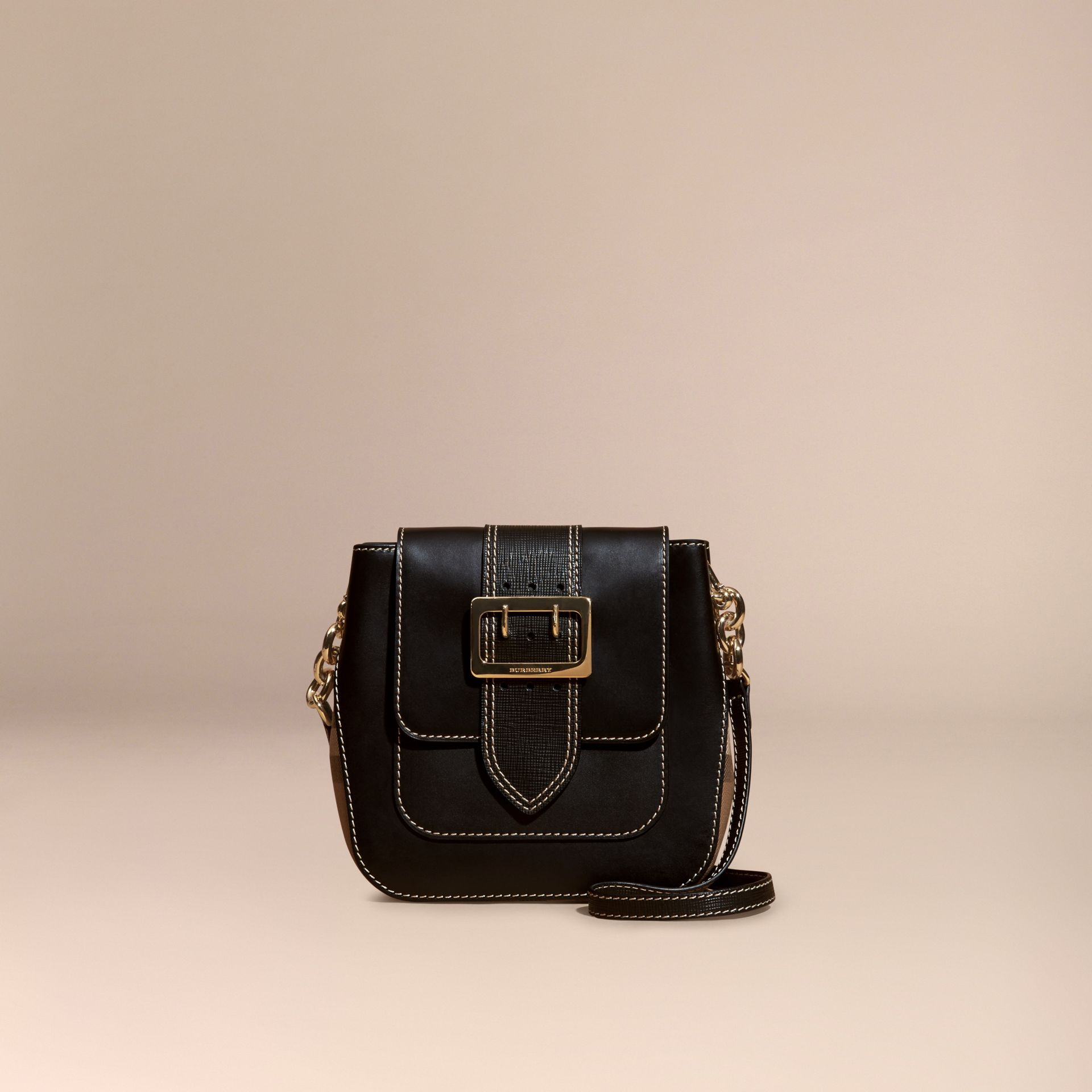 Black The Medium Buckle Bag – Square in Leather and House Check - gallery image 7