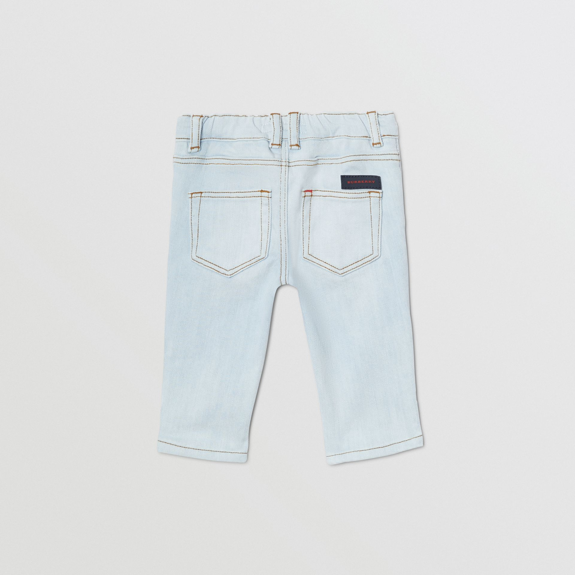 Relaxed Fit Stretch Denim Jeans in Light Blue - Children | Burberry - gallery image 3