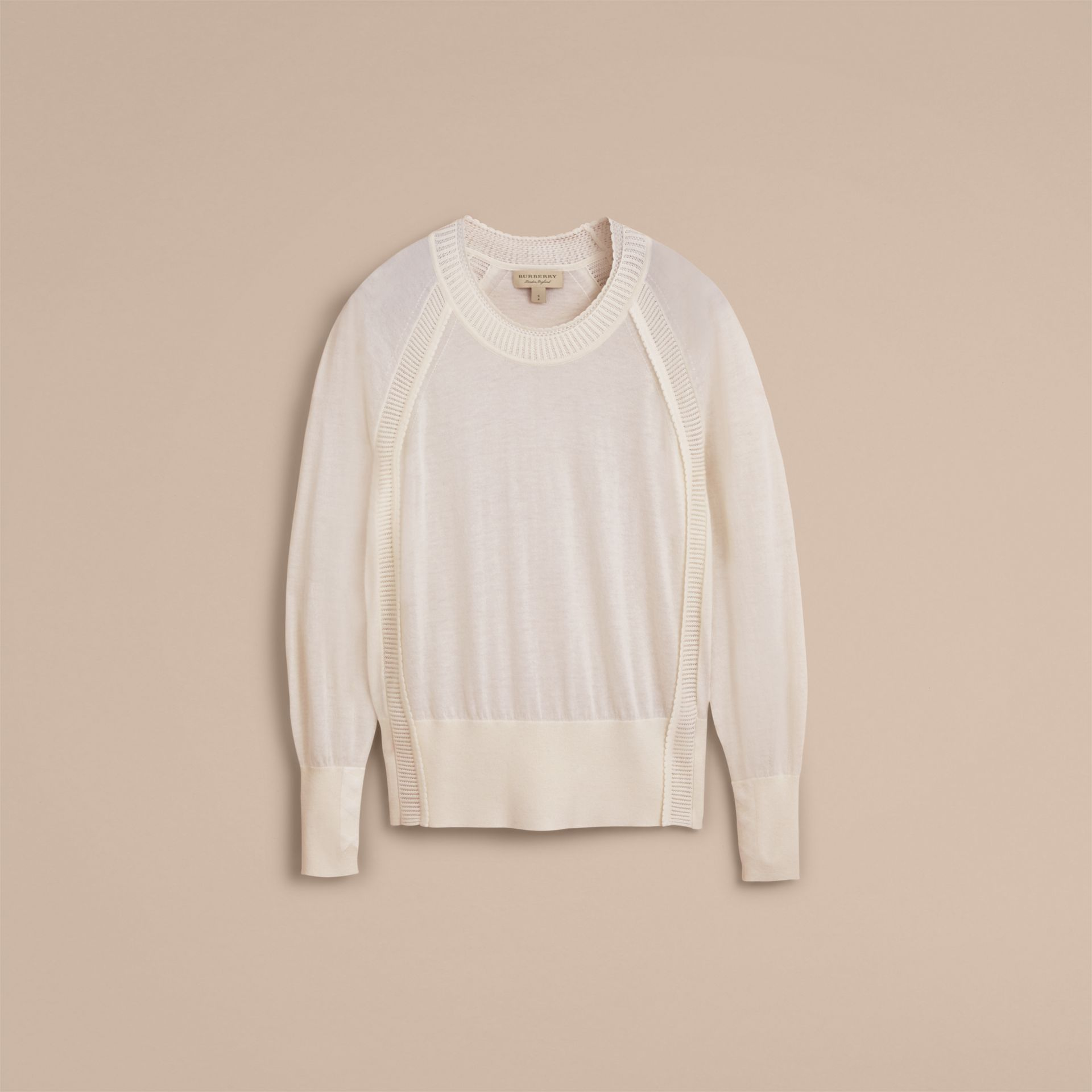 Open-knit Detail Cashmere Crew Neck Sweater in Natural White - Women | Burberry - gallery image 4