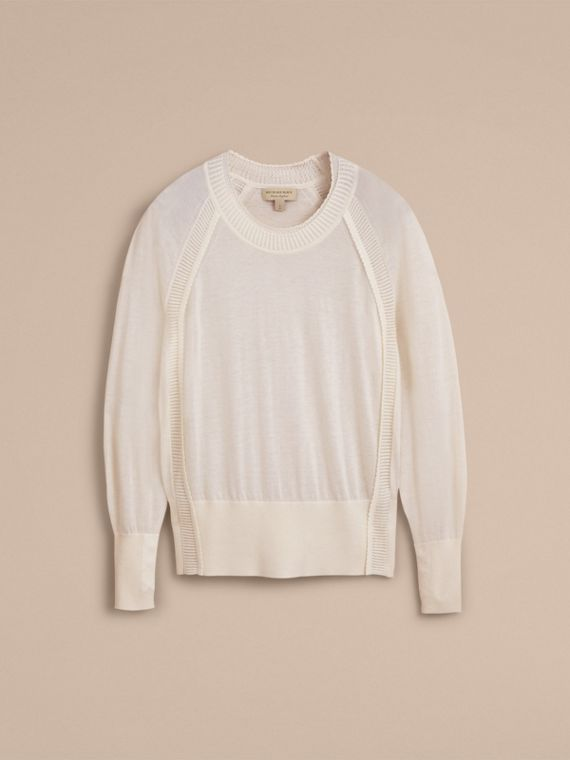 Open-knit Detail Cashmere Crew Neck Sweater in Natural White - Women | Burberry - cell image 3