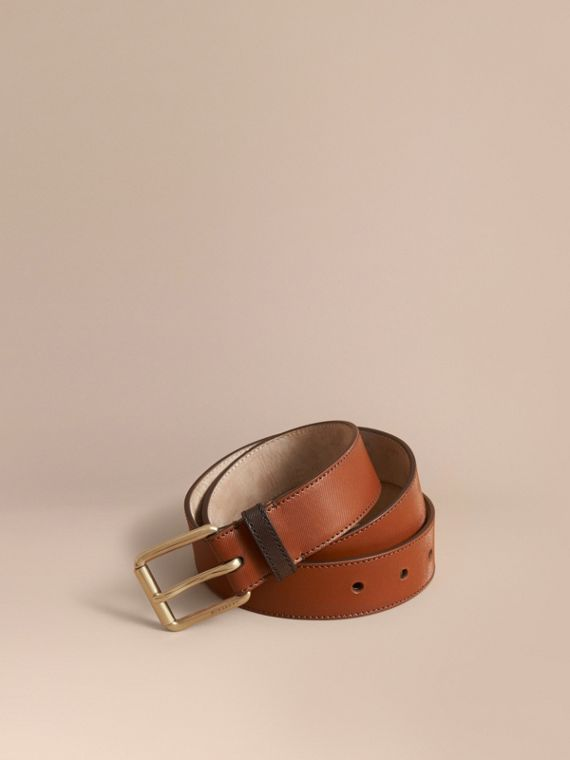Two-tone Trench Leather Belt in Tan