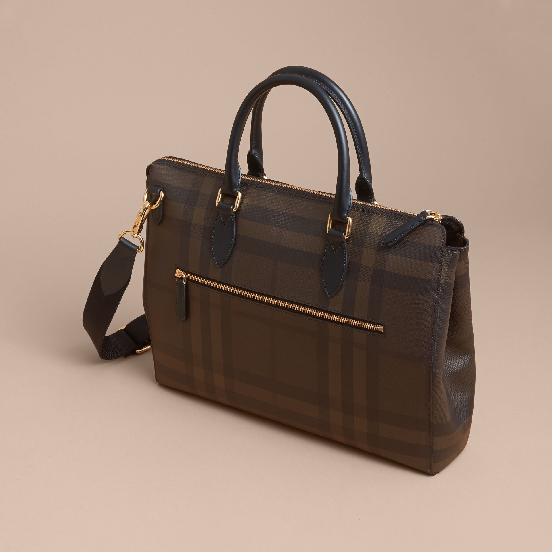 Large London Check Briefcase in Chocolate/black - Men | Burberry - gallery image 5