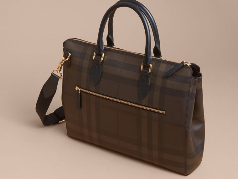 Large London Check Briefcase in Chocolate/black - Men | Burberry - cell image 4