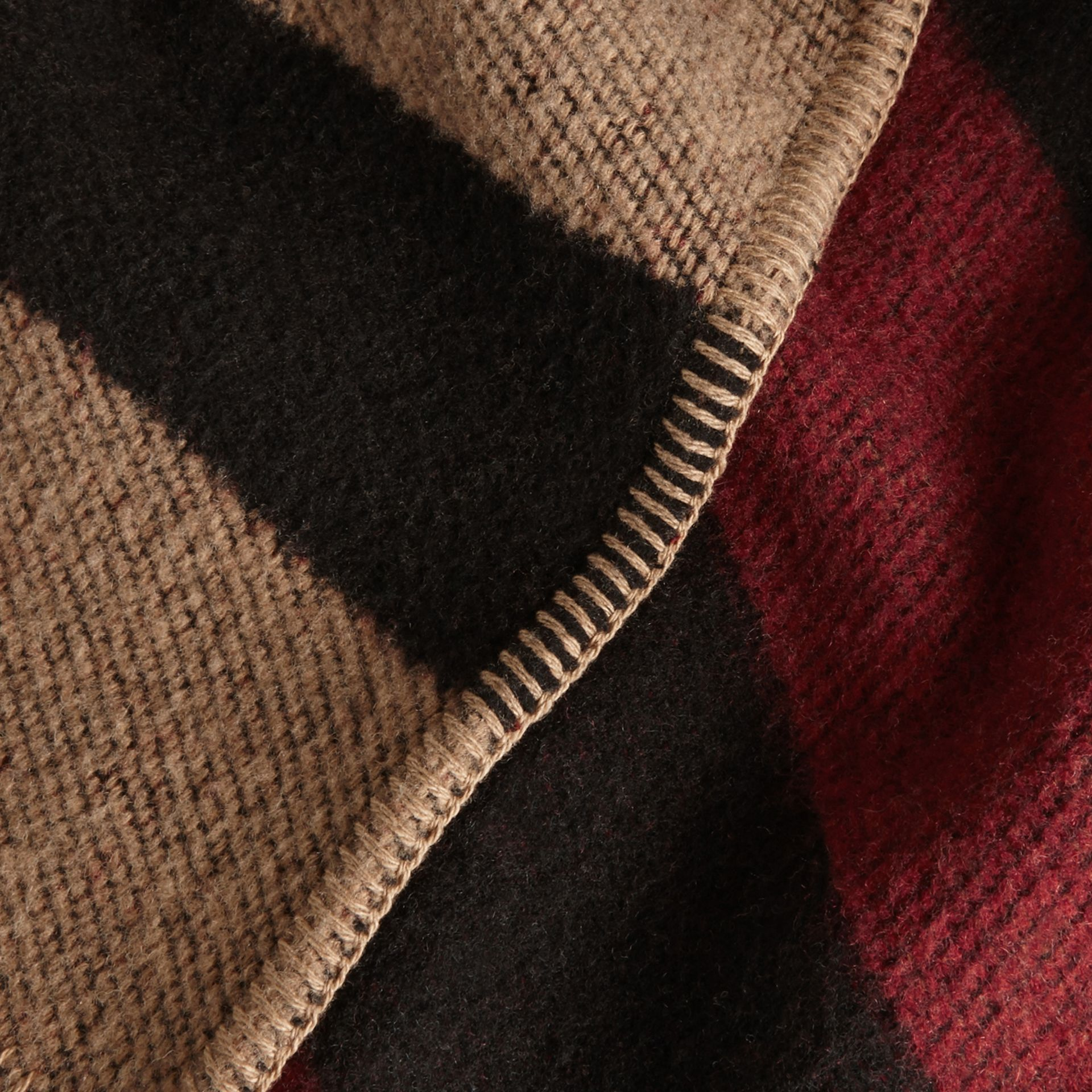 House check/black Check Wool and Cashmere Blanket Poncho - gallery image 5