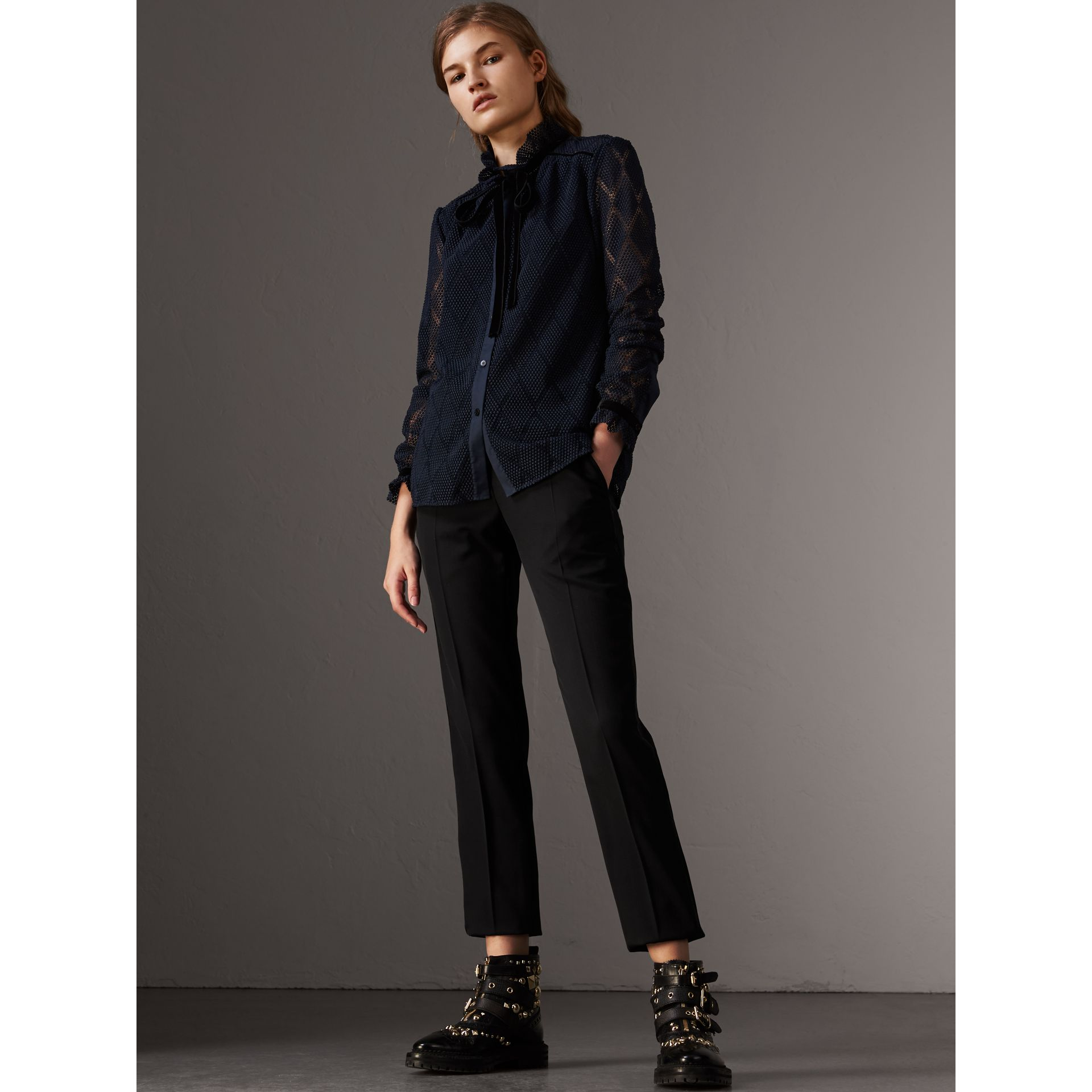 Geometric Lace Tie-neck Shirt in Navy - Women | Burberry - gallery image 5