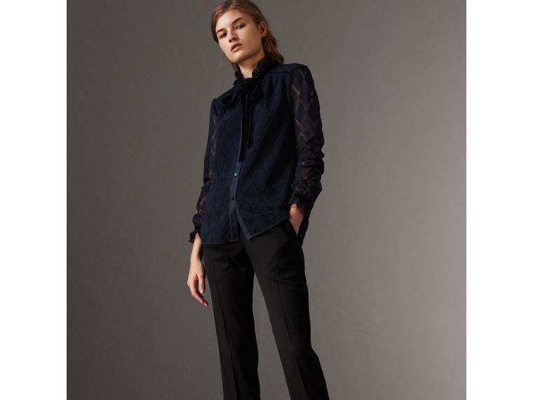 Geometric Lace Tie-neck Shirt in Navy - Women | Burberry United Kingdom - cell image 4