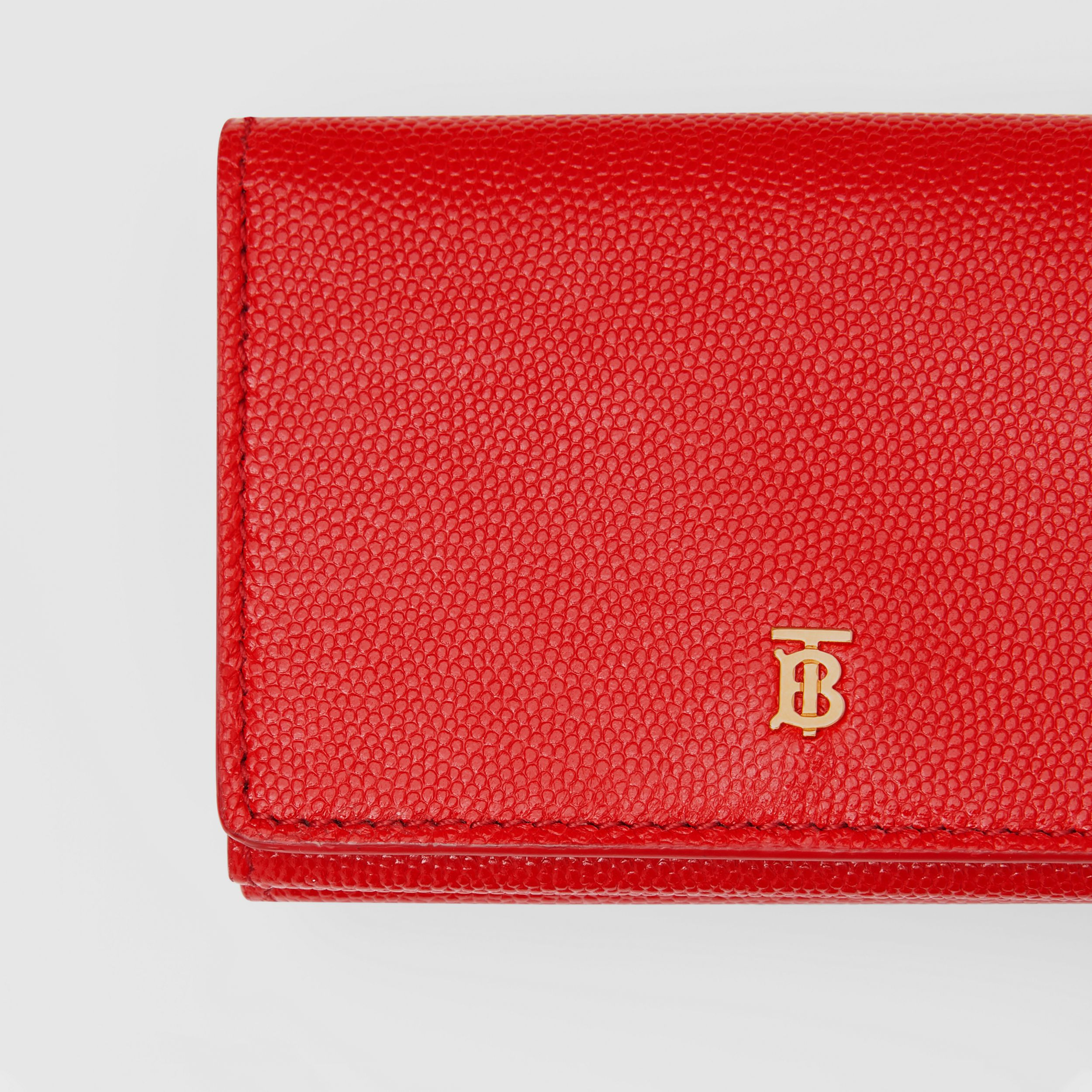 Small Grainy Leather Folding Wallet in Bright Red - Women | Burberry - 2