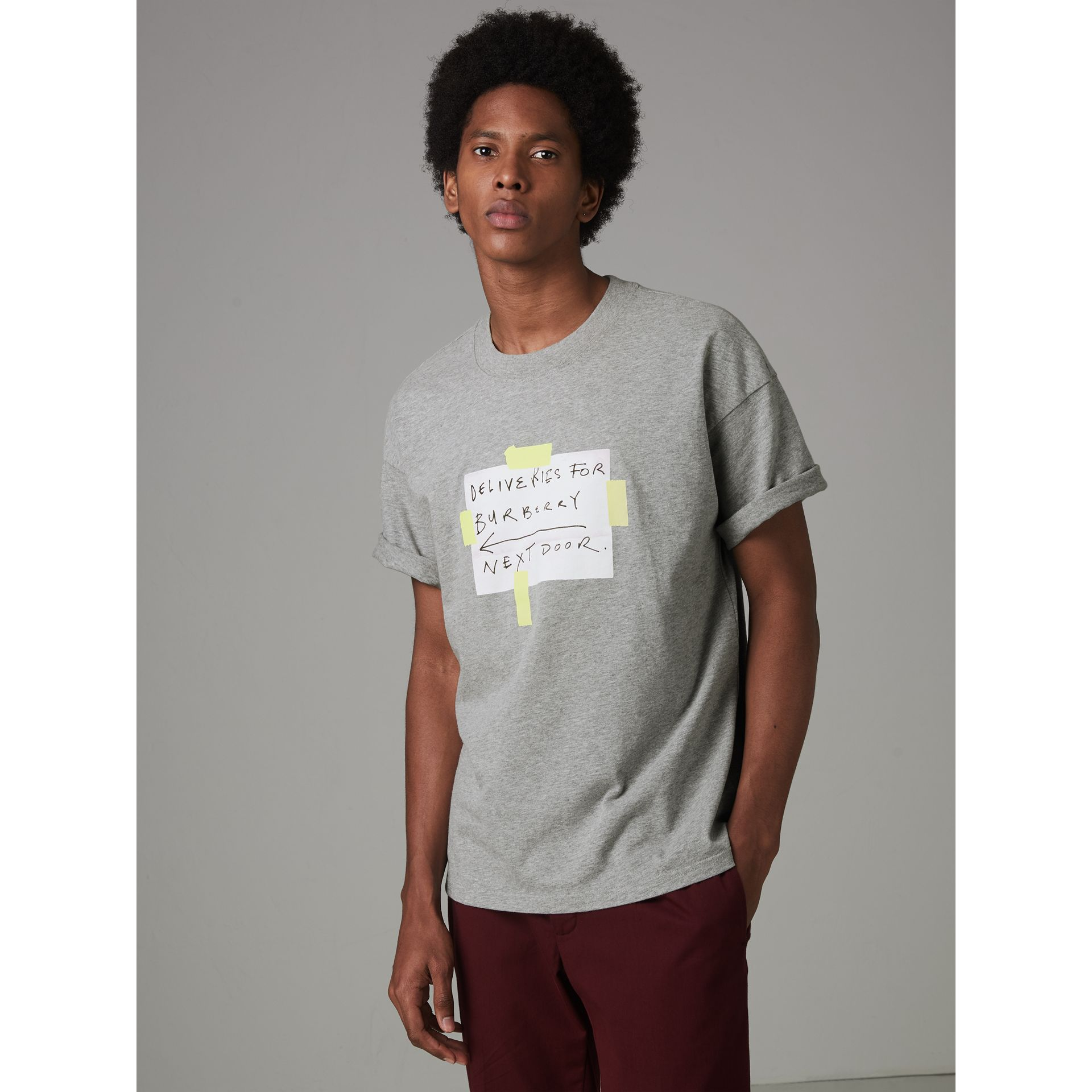 Sign Print Cotton T-shirt in Pale Grey Melange - Men | Burberry - gallery image 4