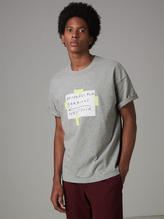 Sign Print Cotton T-shirt in Pale Grey Melange