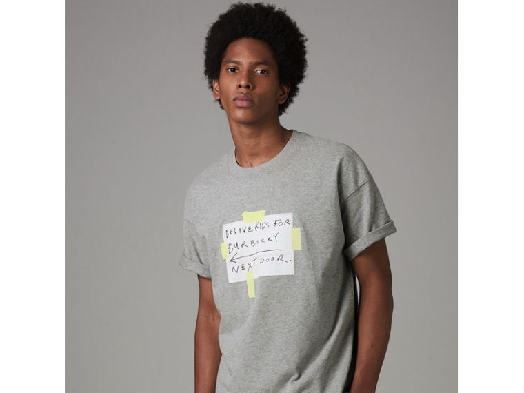 Sign Print Cotton T-shirt in Pale Grey Melange - Men | Burberry - cell image 4