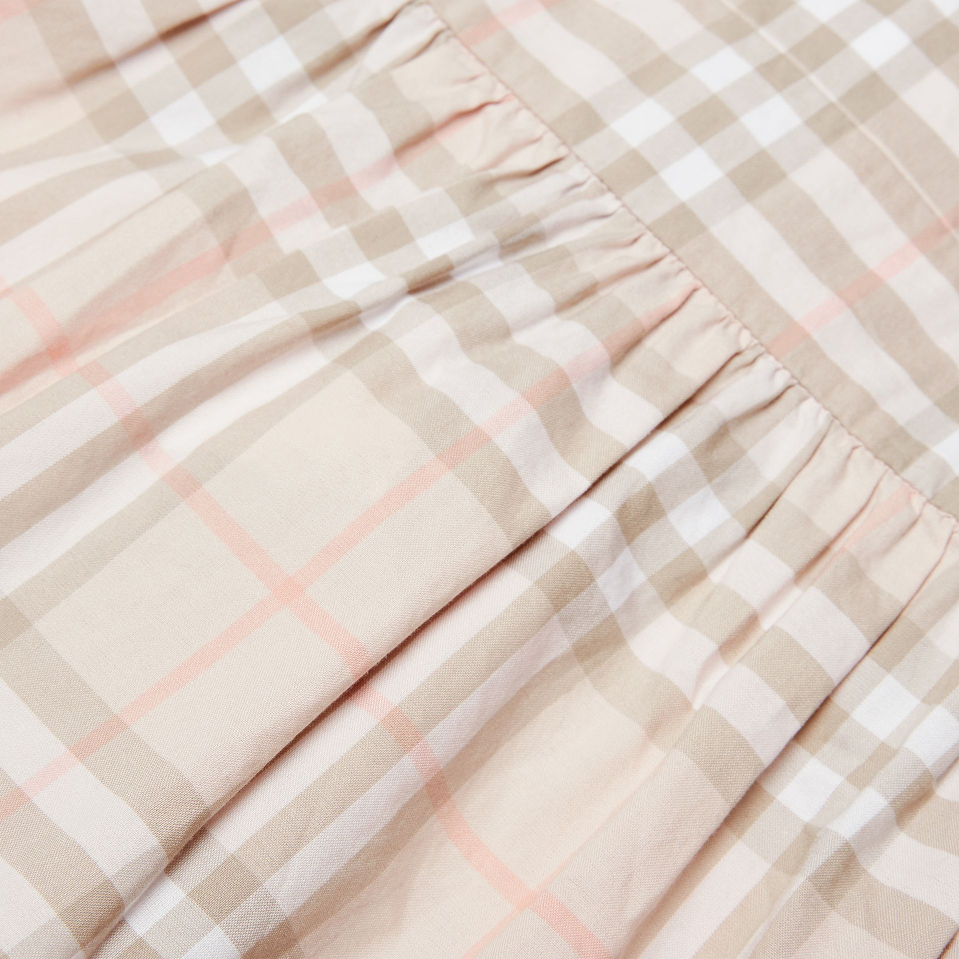 Ruffle Detail Check Cotton Dress in Pale Pink Apricot | Burberry Australia - gallery image 1