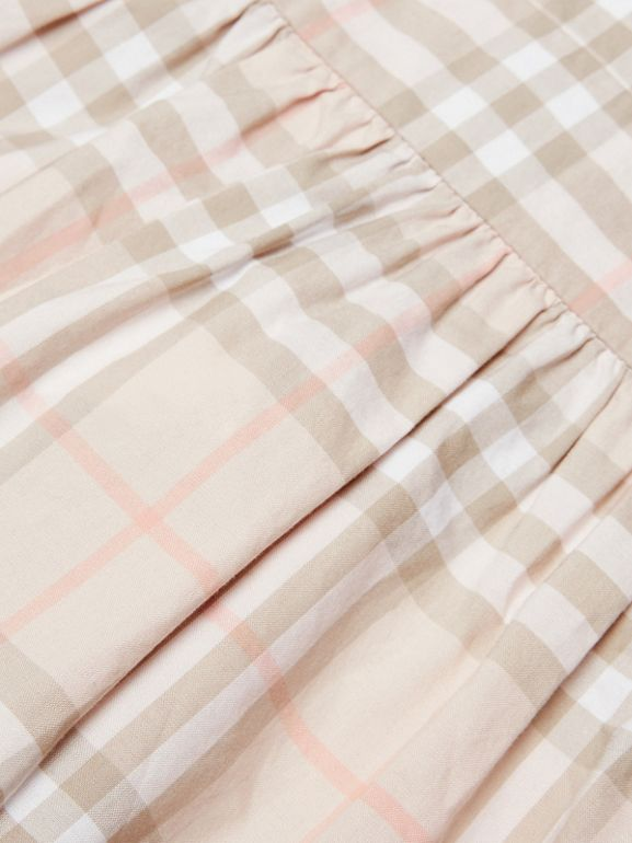 Ruffle Detail Check Cotton Dress in Pale Pink Apricot | Burberry - cell image 1