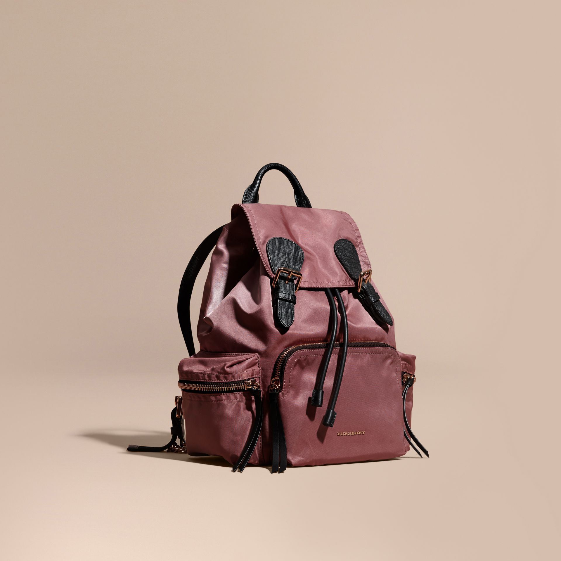 The Medium Rucksack in Technical Nylon and Leather Mauve Pink - gallery image 1